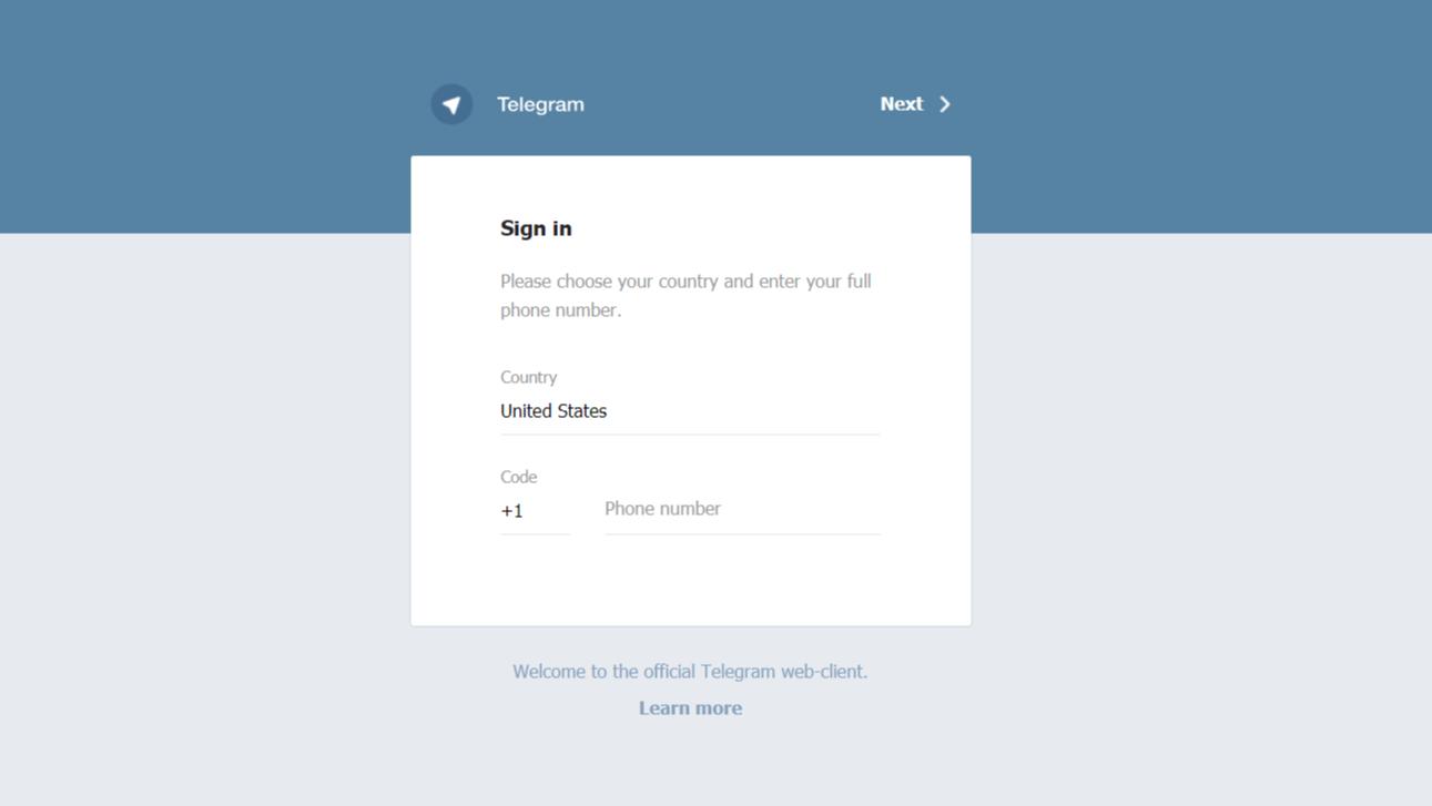 Telegram Web Home page
